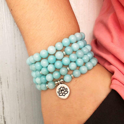 Bracelet Mala Bouddhiste en Aigue Marine-Yoga Zen Boutique