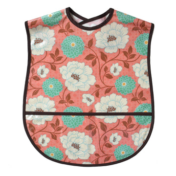 Vinyl covered floral print extra large adult bib with crumb pocket and adjustable neck