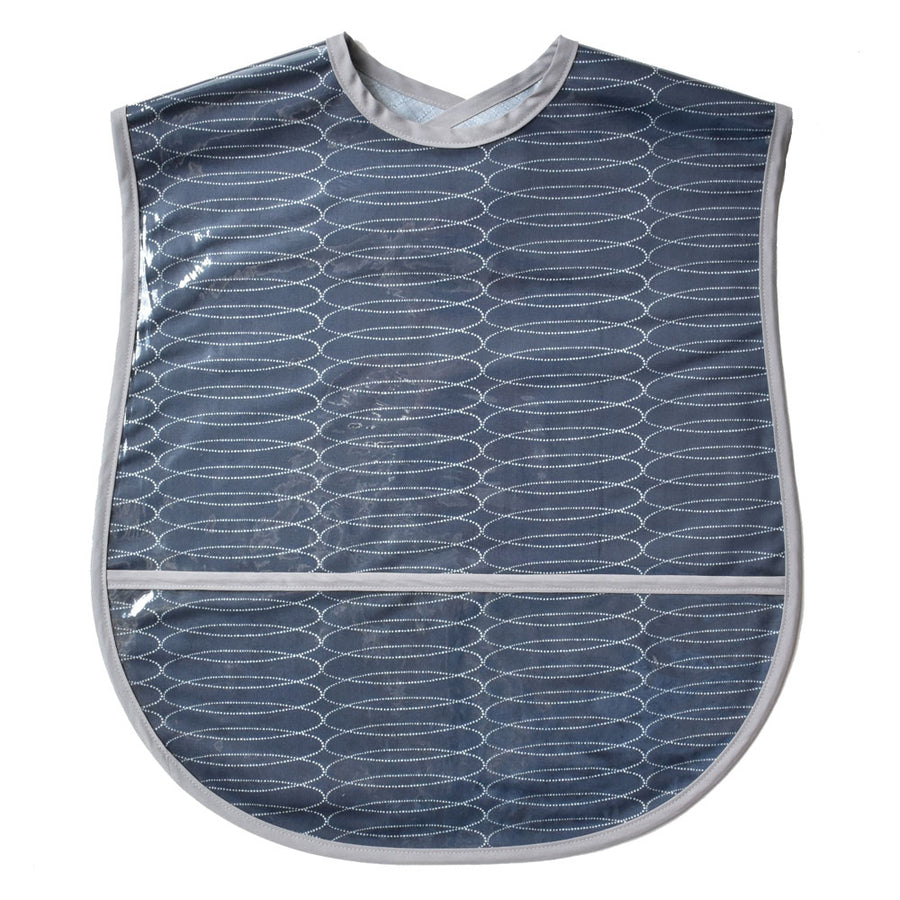 Vinyl covered extra large grey swirl adult bib with crumb pocket and adjustable neck