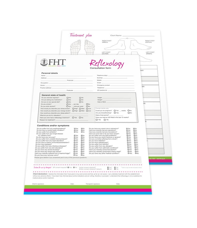 Image of FHT reflexology consultation forms.