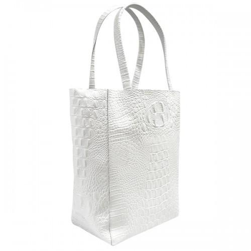 Balmain - White Crocodile Look Leather Tote Bag - CLEARANCE! - AllBags4u