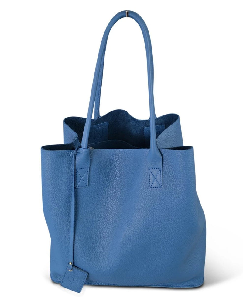 Birchgrove - Light Blue Leather Slouch Shopper Tote - AllBags4u