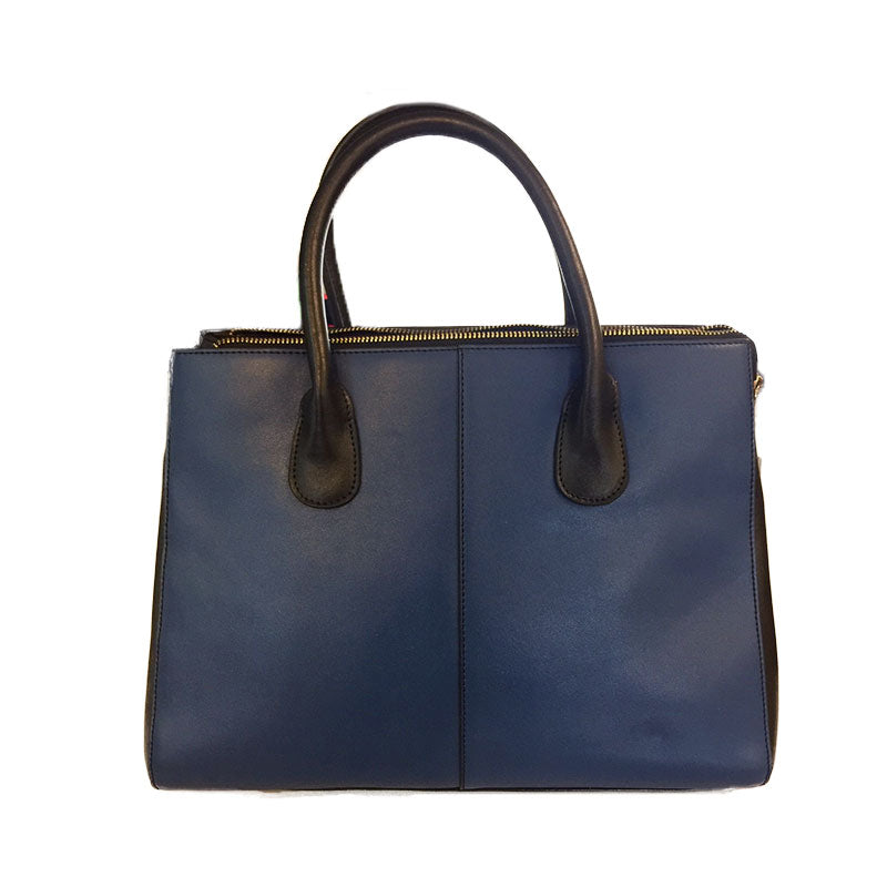 NAROOMA - Blue Leather Structured Shoulder Bag - AllBags4u
