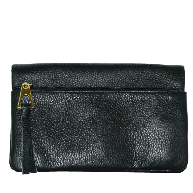 CREMORNE - Ladies Black Soft Pebbled Leather Fold Wallet - AllBags4u