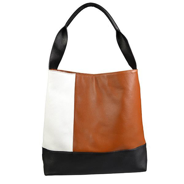 COLLAROY - Leather Tan White Black Panel Shopper Tote - AllBags4u