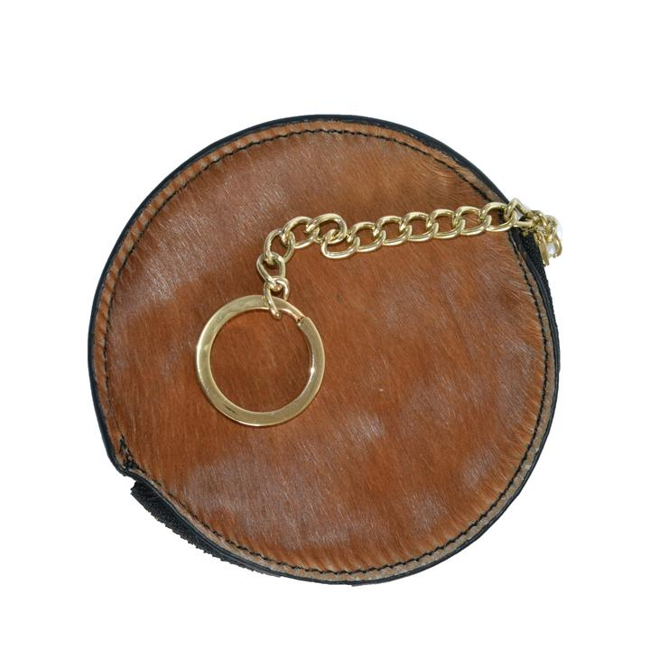 LORN - Ladies Tan Calf Hair Gold tone Key Ring Coin Purse in Gift Box - AllBags4u