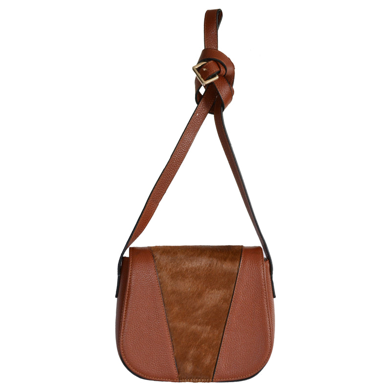 BERRY - Ladies Brown Leather Saddle Bag - AllBags4u