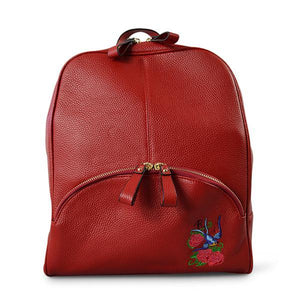 Kingscliff - Ladies Red Leather Backpack with Bird Embroidery - AllBags4u
