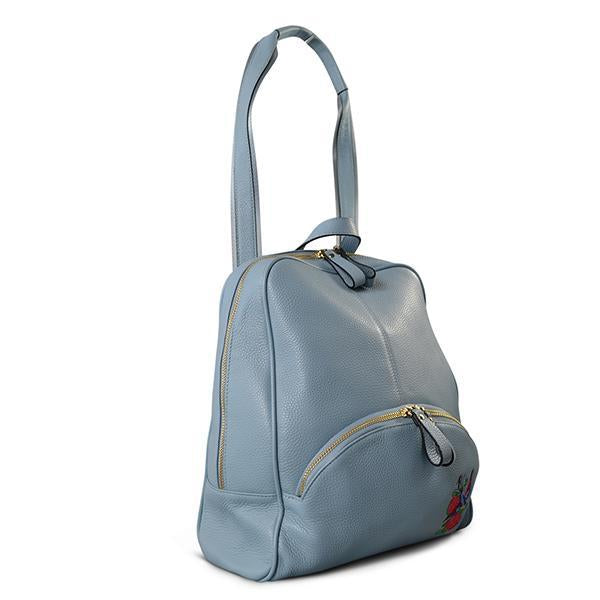 Kingscliff - Ladies Blue Genuine Leather Backpack with Bird Embroidery - AllBags4u