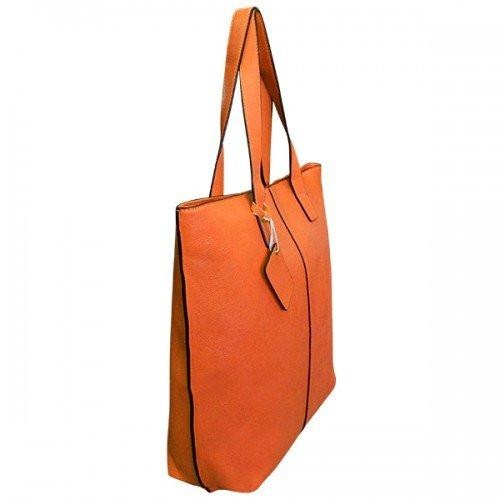 LORRAINE - Womens Orange Faux Leather Tote Shopper Handbag - AllBags4u