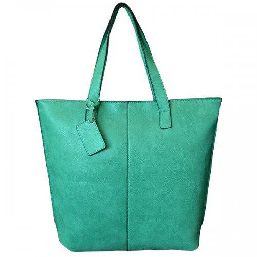 LORRAINE -  Womens Green Faux Leather Tote Shopper - AllBags4u