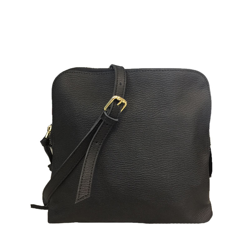 TUSCANY -  Ladies Black Leather Crossbody Shoulder Bag with Gold Hardware - AllBags4u