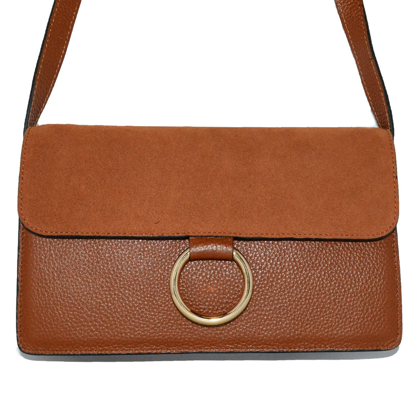 COBURG - Tan Pebbled Leather and Suede Mini Cross-body Gold Ring Bag - AllBags4u