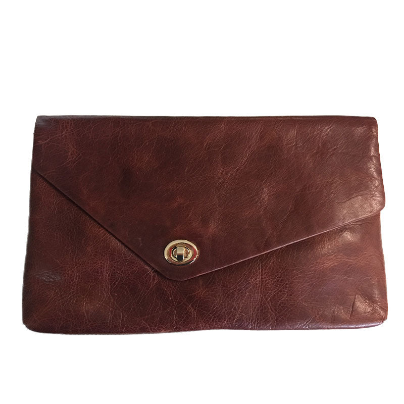 CENTENNIAL PARK - Dark Brown Leather Envelope Bag Evening Clutch Purse - AllBags4u