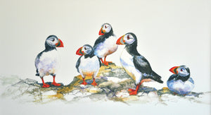 Puffin Party - Small Mounted Print