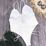 White Backless One-piece Swimsuit High Leg One-piece Swimsuit
