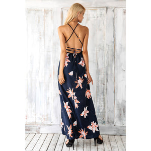 Backless Maxi Split Dress Blue Dress with Pink Flower Street Style Dress V-neck and Empire Waistline