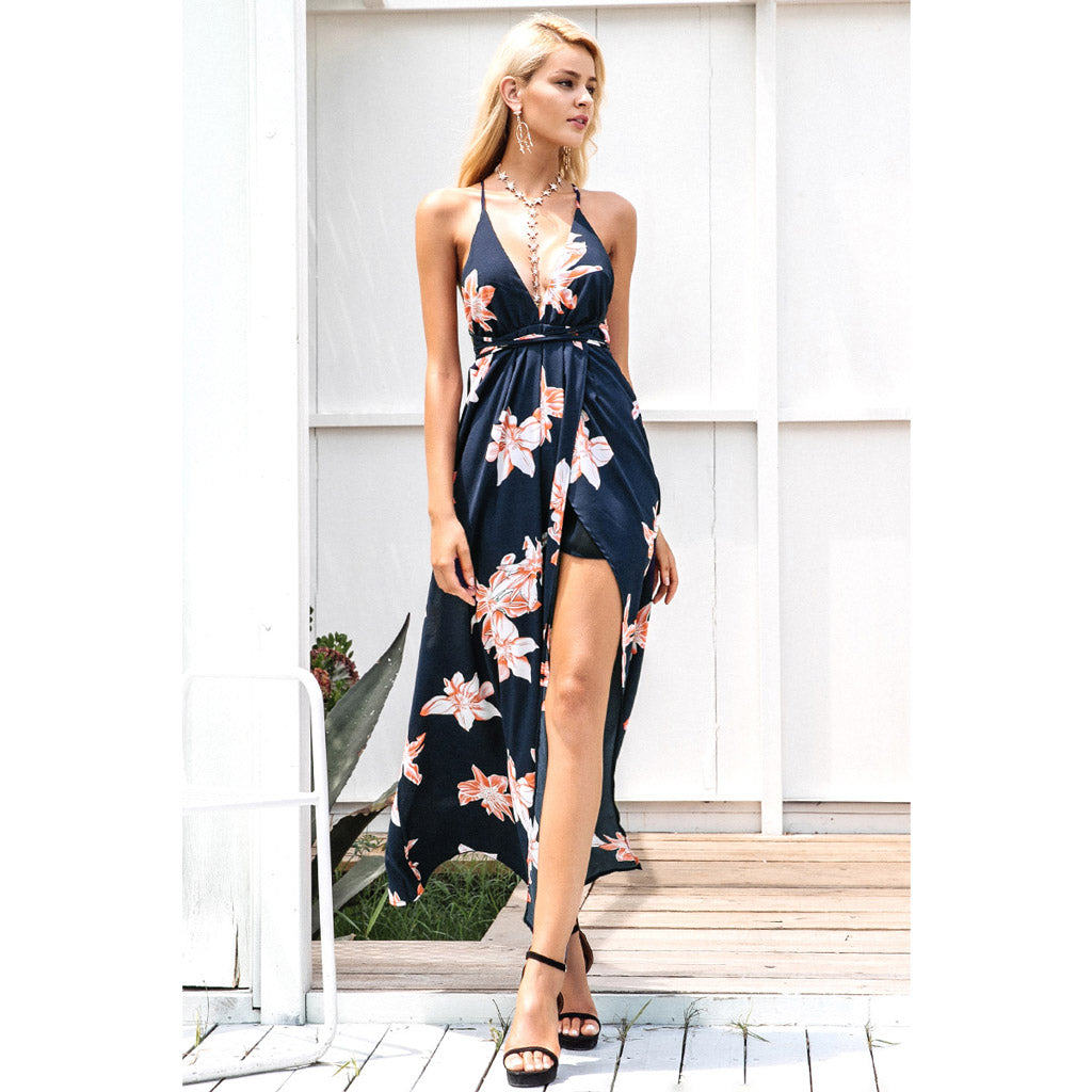 Blue Split Dress Style Maxi Dress Open Shoulders Empire Waistline Pink Floral Patter and Blue Underskirt Backless Street Style Dress