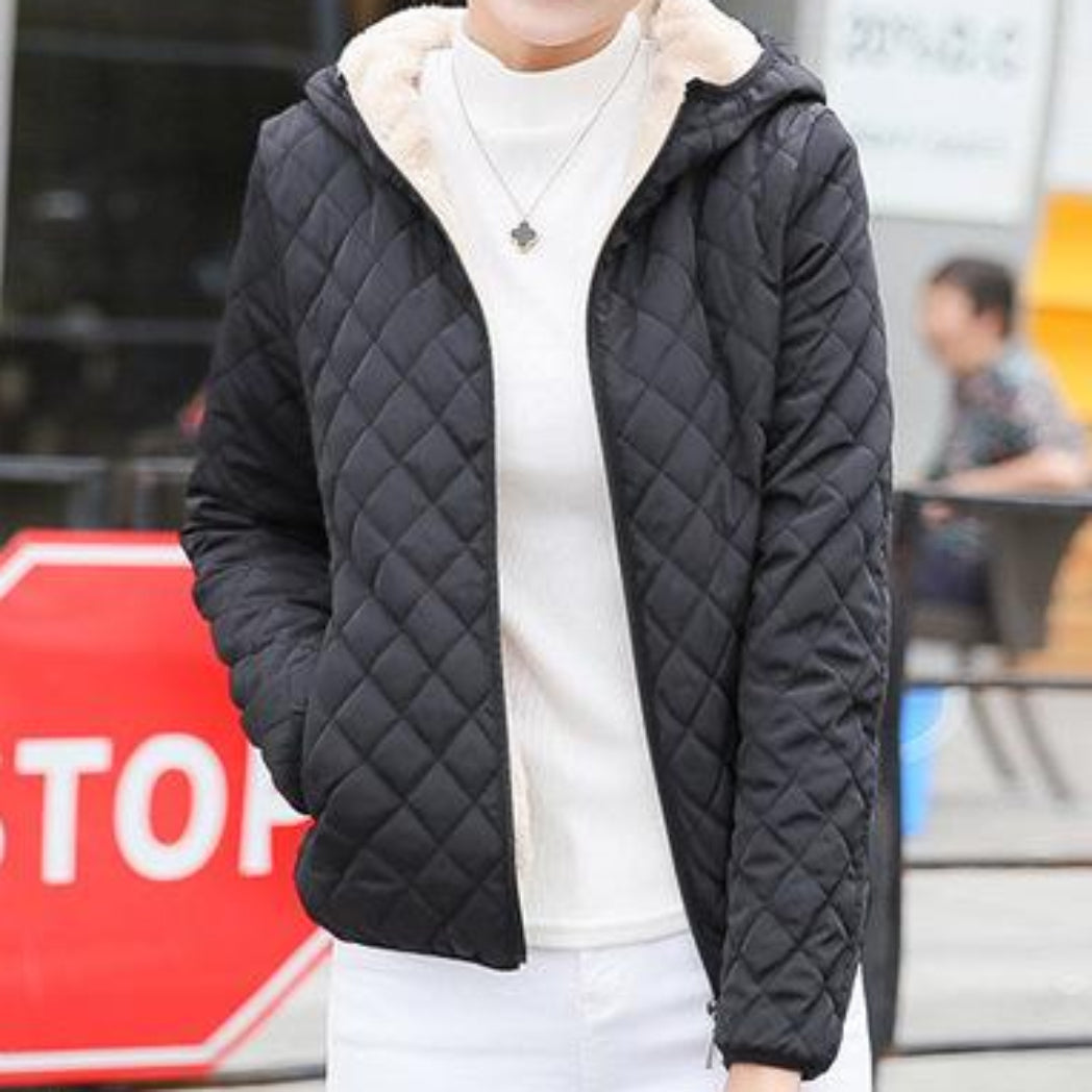 Black Bomber Jacket Women Coat with Hood and sot Lining