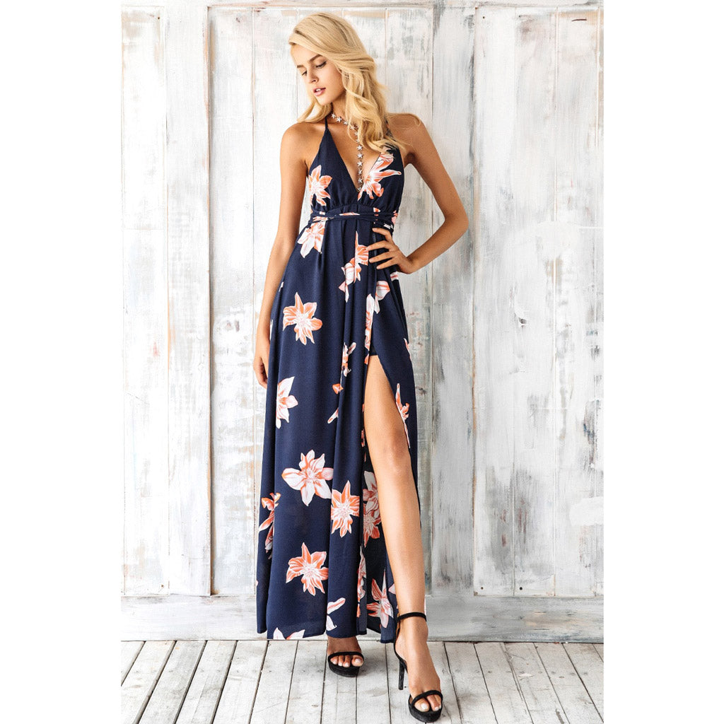 Blue Split Dress Long Bohemian Style Dress Street Style Dress Backless Maxi Dress