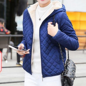 Blue Women's Bomber Jacket Soft Inside Coat with Hood