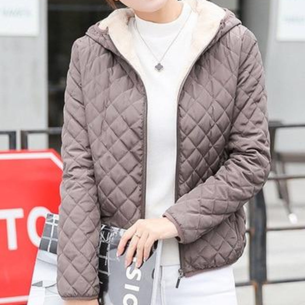 Bomber Jacket Khaki Women With Hood Coat with Soft Lining