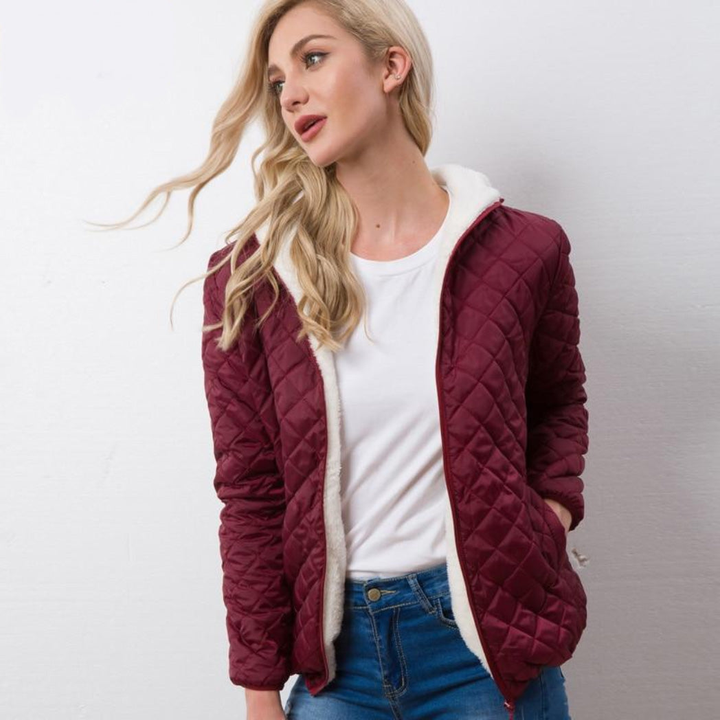 Women's Burgundy Bomber Coat with Soft Lining and Hood