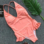Cheeky Bottom Frilly Swimsuit Low cut Front Open Back Peach Color
