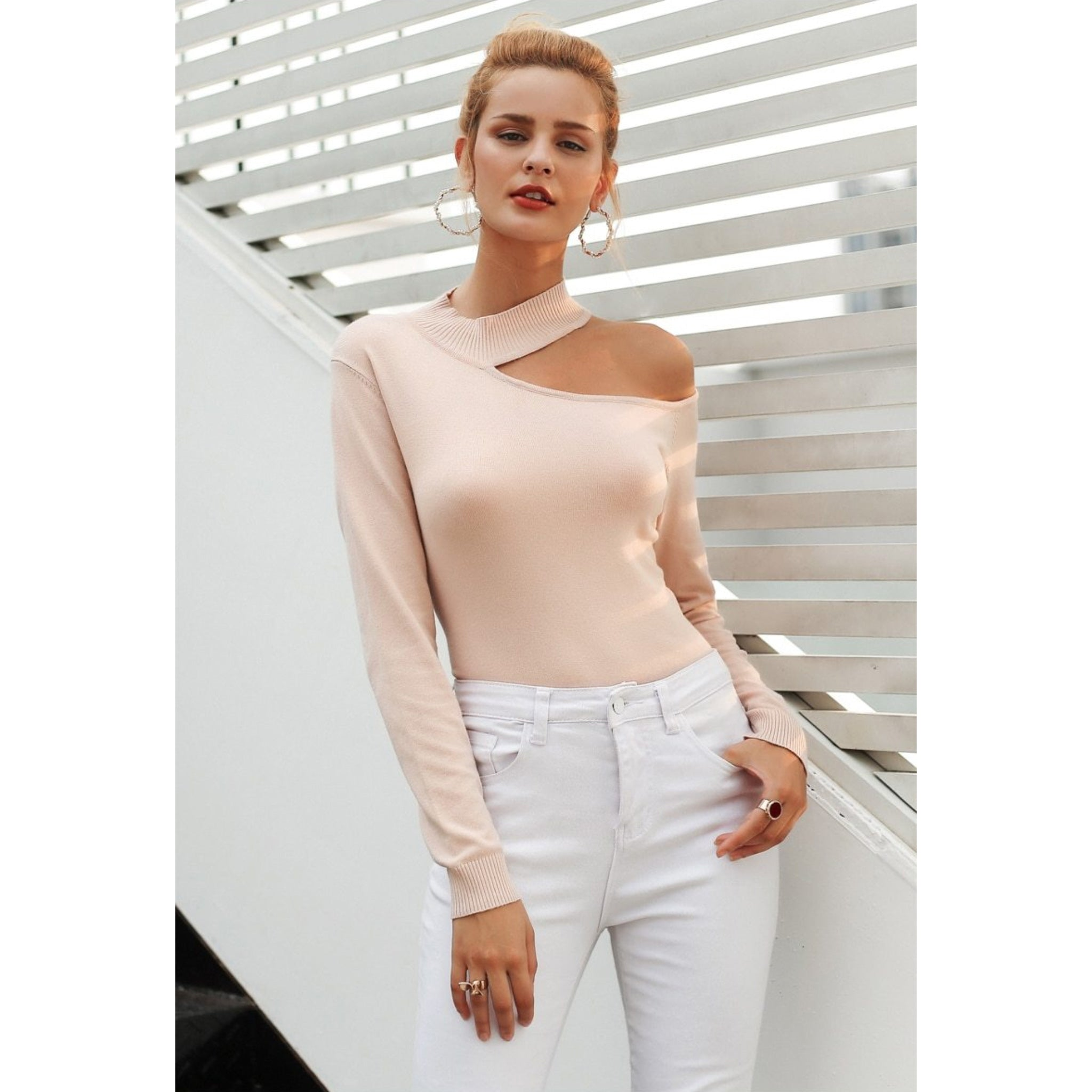 Pink Cold Shoulder Choker Pullover Sweater Long Sleeve