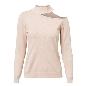 Choker Sweater Shop Online Long Sleeve Pullover Cold Shoulder Sweater
