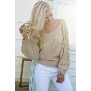 Fall Sweater Outfit Lace Up Sleeves and One Shoulder Design Camel Colored Pullover Sweater