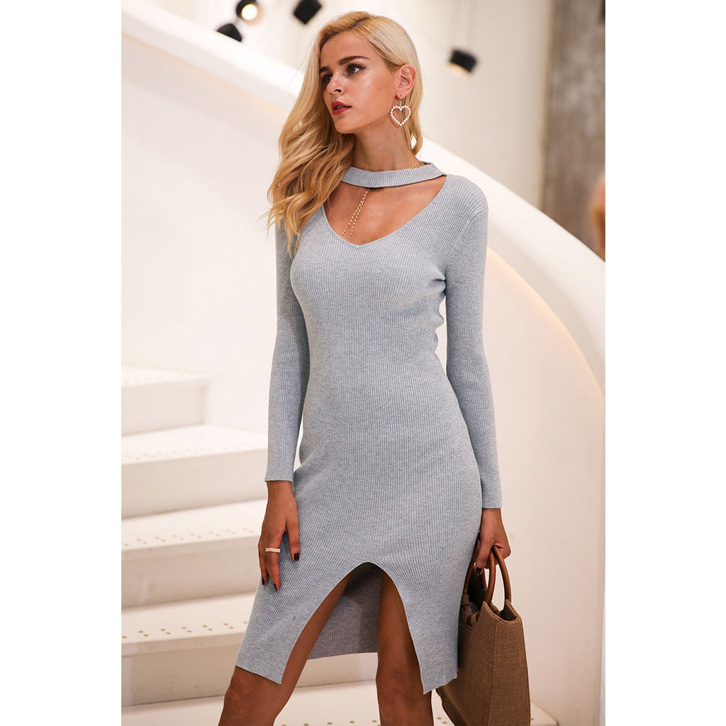 Choker Bodycon Dress Long Sleeve Gray Street Style