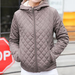 Khaki Bomber Jacket Women Coat with soft inside and hood