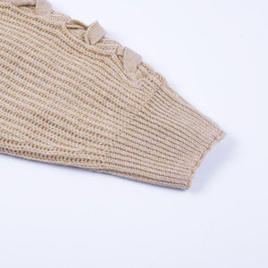 Camel Knitted Lace Up Sleeve Sweater with Durable Cuff