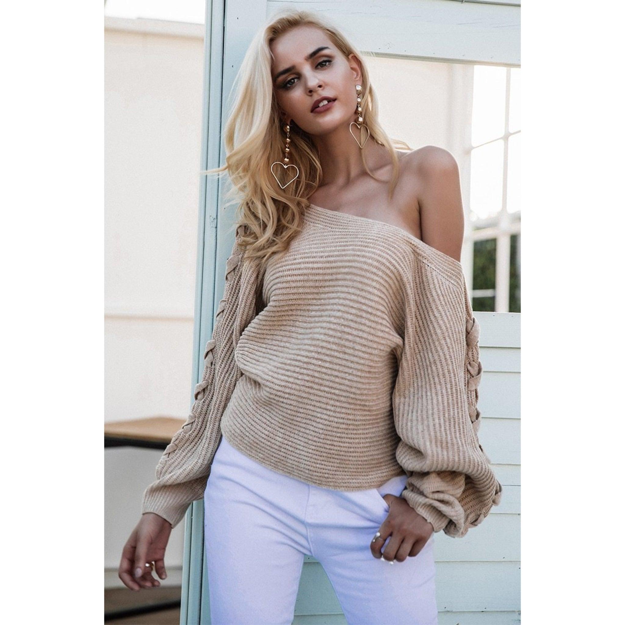 Lace Up Sleeve Sweater with Batwing sleeves and One shoulder sweater design