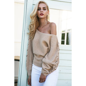 One Shoulder Sweater With Lace Up Sleeve and BatWing Sleeve