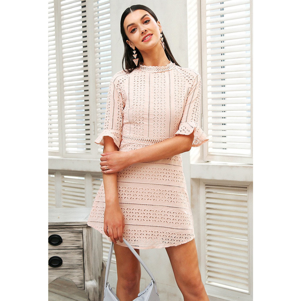 Pink Classy Dress Outfit Women's Street Style Fashion Bell Sleeve Mini Dress Half Sleeve O-neck Dress Hollow Out Design Sleeve Dres