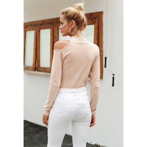 Pink Cold Shoulder Sweater with long Sleeves women's pullover sweater Shop