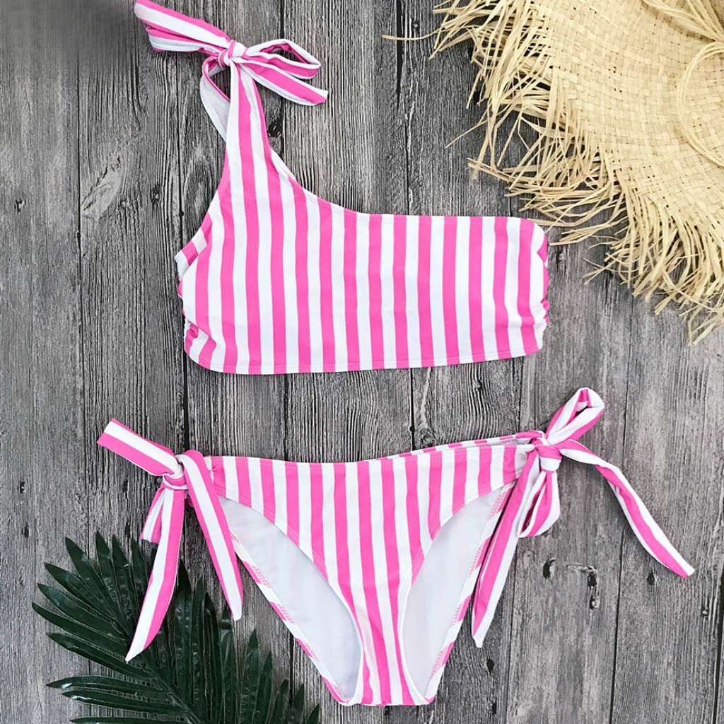 Pink Striped Bandeau Top Swimsuit Tie Side Bikini Bottoms Pink One Shoulder Bikini