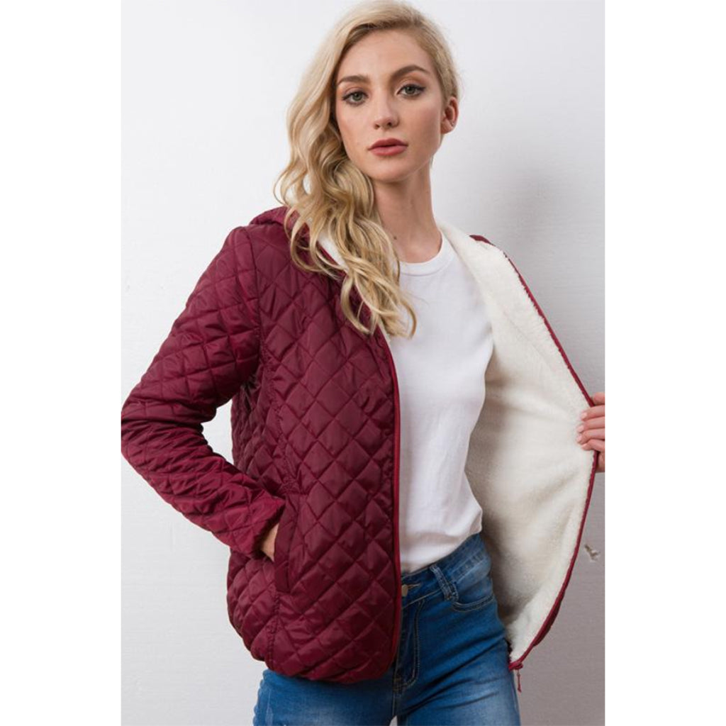 Women's Red Bomber Jacket Soft Lining Jacket