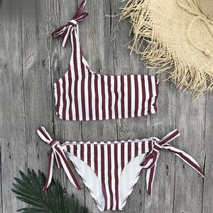 Red Bandeau Tie Side One Shoulder Bikini Swimsuit for Women Red One Shoulder Swimsuit