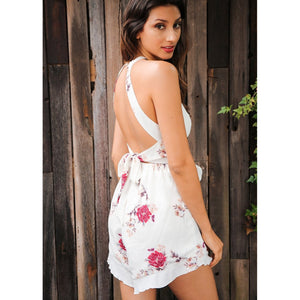 Sleeveless Romper Playsuit White with Floral Pattern High Neck and Open Back