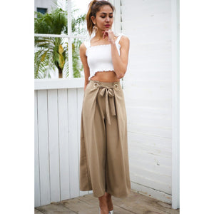 Khaki Street Style Wide Leg Pants High Waist with Sash and cute Eyelets