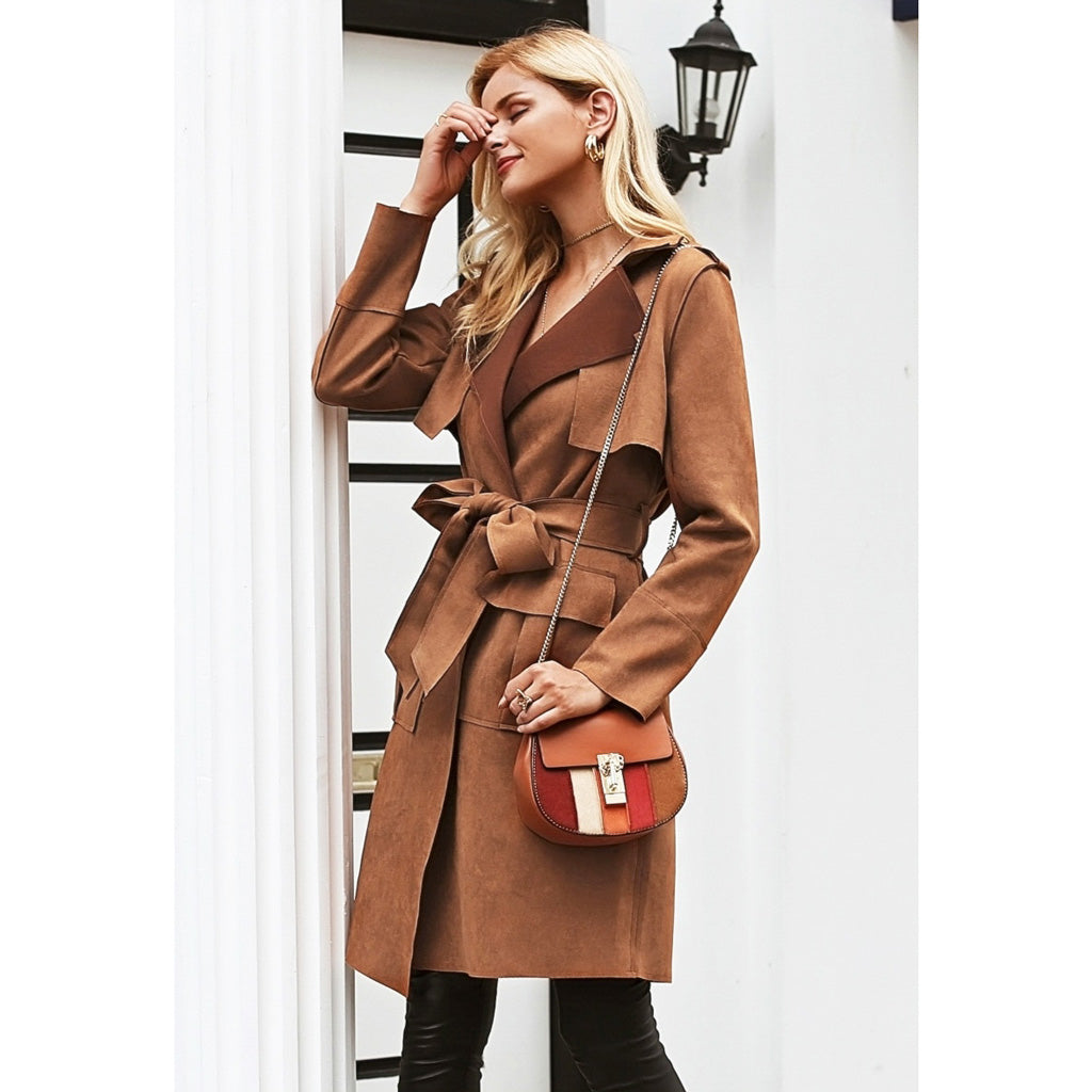Brown Trench Coat Women's Street Style Suede Jacket