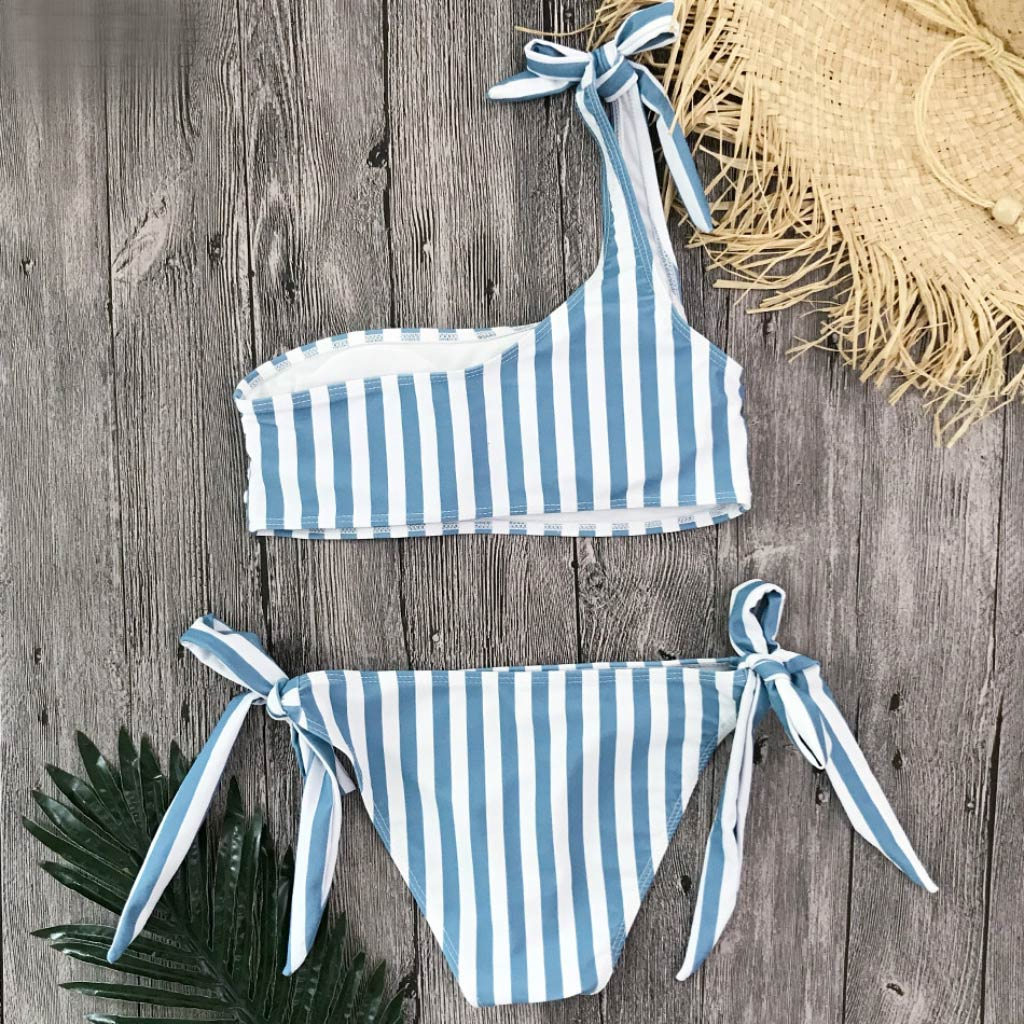 Blue Striped Bathing Suit for Women One Shoulder Bandeau Top Bikini Set Low-rise Tie Side Bikini Bottom Style Blue
