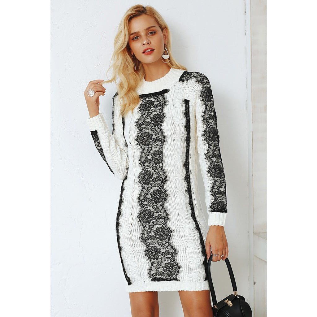 White Sweater Dress With Lace Detail