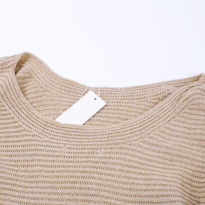 Warm Autumn Pullover Sweater Camel Colored with an O-neck