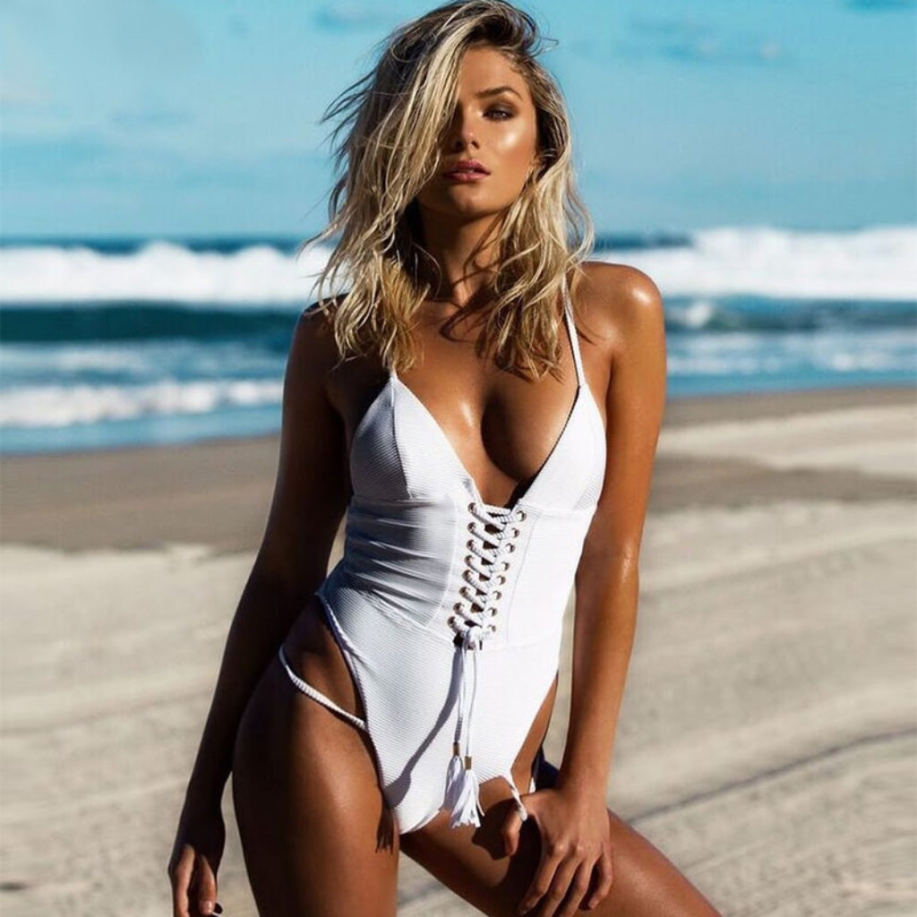 White Lace Up One-piece Swimsuit Strappy Bathing Suit Lace Hip Swimsuit