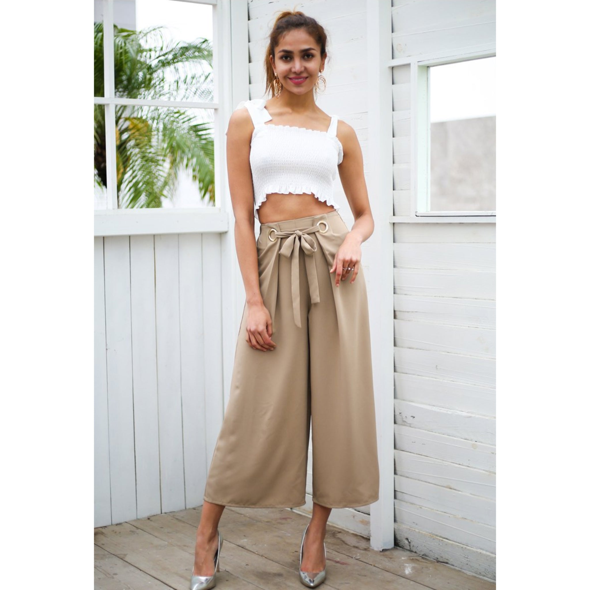 Wide Leg Capris Pants Street Style Sash High Waist and 2 Ringlets
