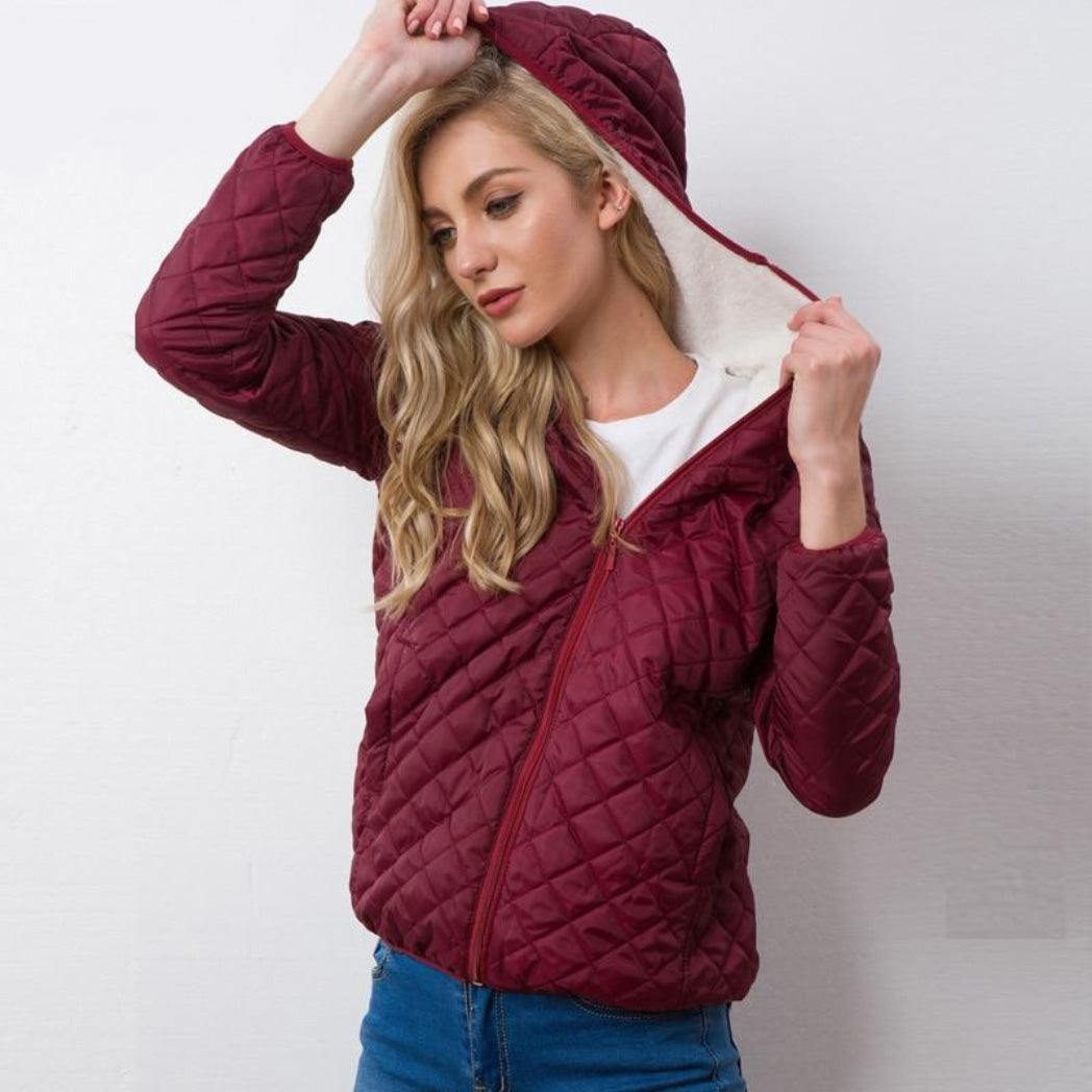 Women Hooded Bomber Jacket Burgundy Coat with Soft Lining